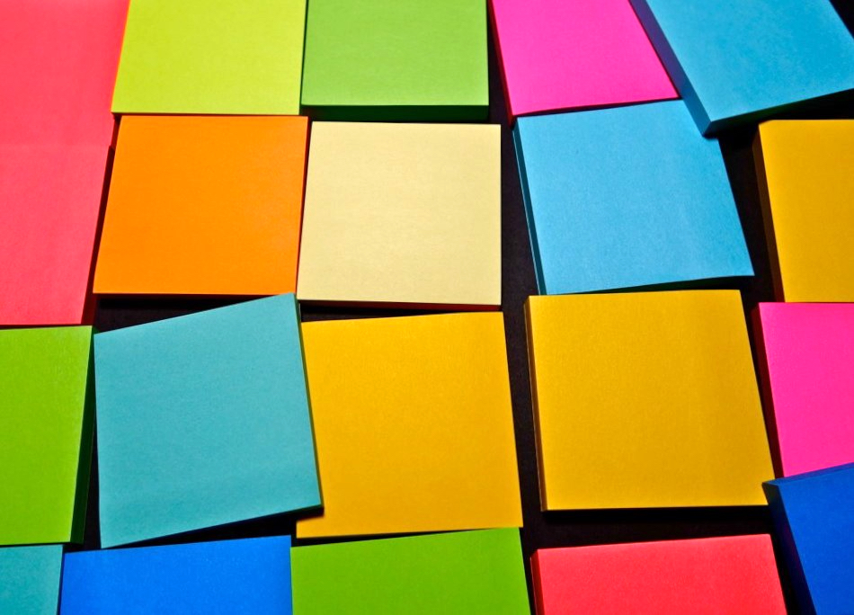 Blocks of post-it notes in bright colours