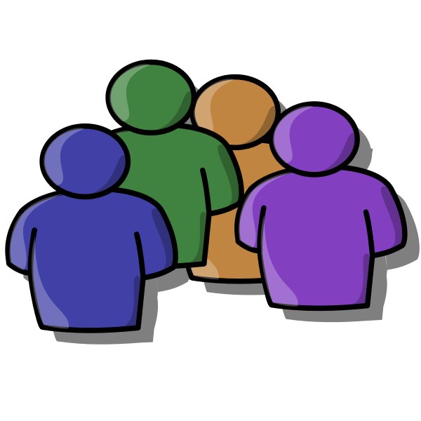 Cartoon icon showing a group of people in outline, with no facial features or distinguishing characteristics to differentiate them.