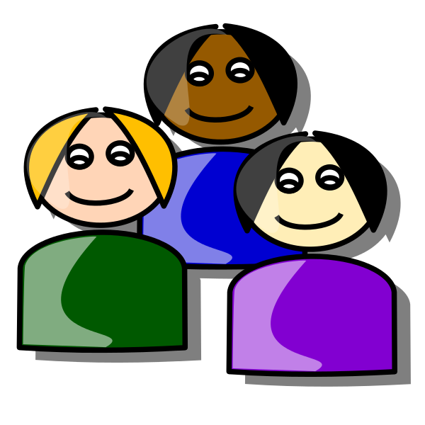 Cartoon icon showing three people with facial features and different skin tones/hair colours.