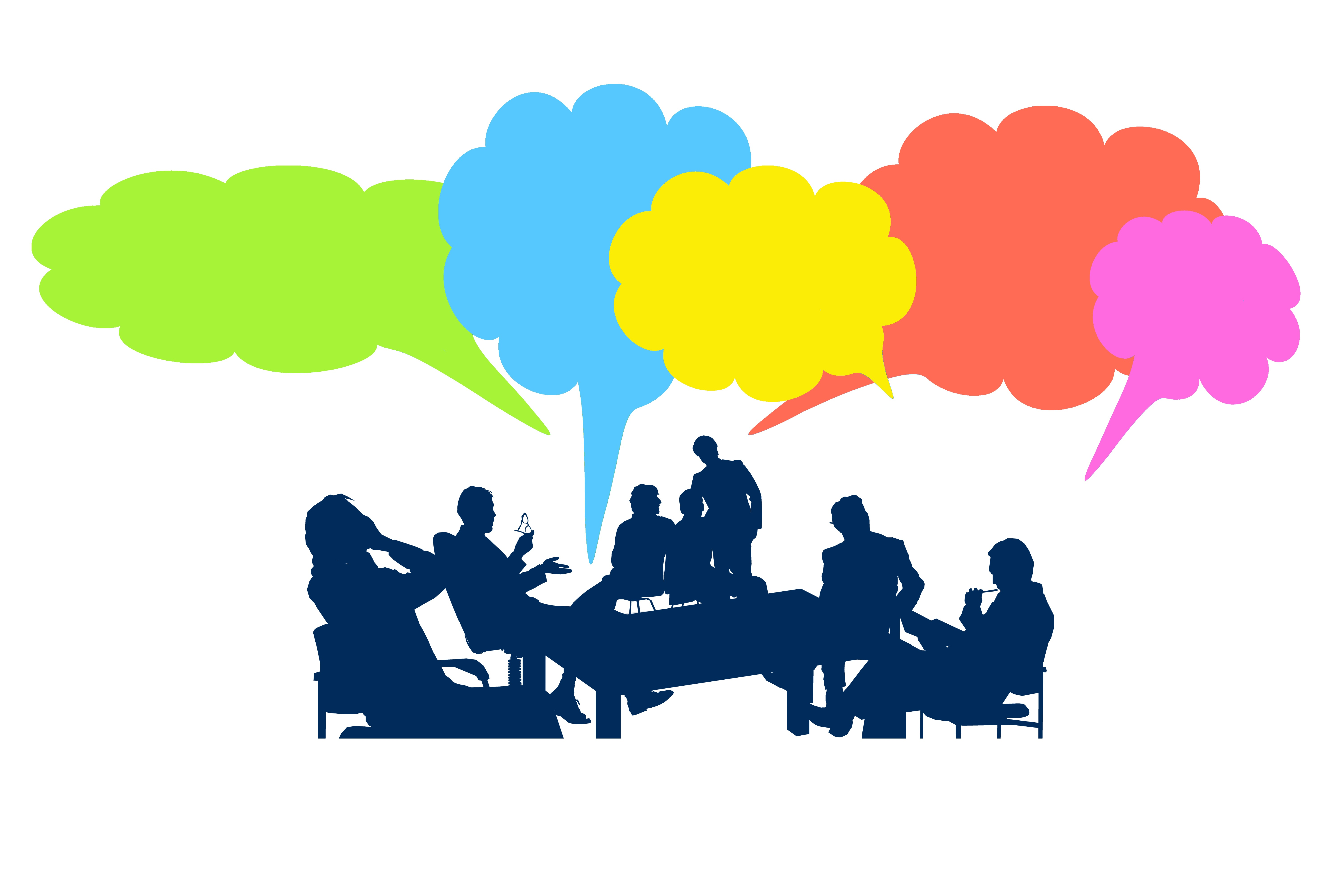 Outline image showing a group of people in silhouette seated around a table. Above their heads are five 'thought bubbles' in bright colours.