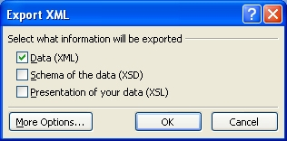 Access 2007 export XML dialogue box
