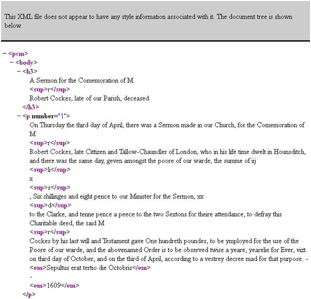 browser XML display message