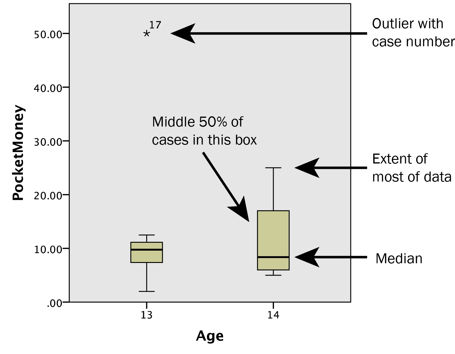 Example boxplot: Pocket money values grouped by age of respondents.
